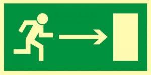"""Znak """"Kierunek dowyjścia drogi ewakuacyjnej wprawo"""""""