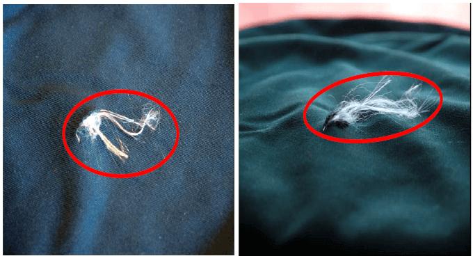 Uszkodzenie warstwy ochronnej odzieży chroniącej przed przecięciem piłą łańcuchową