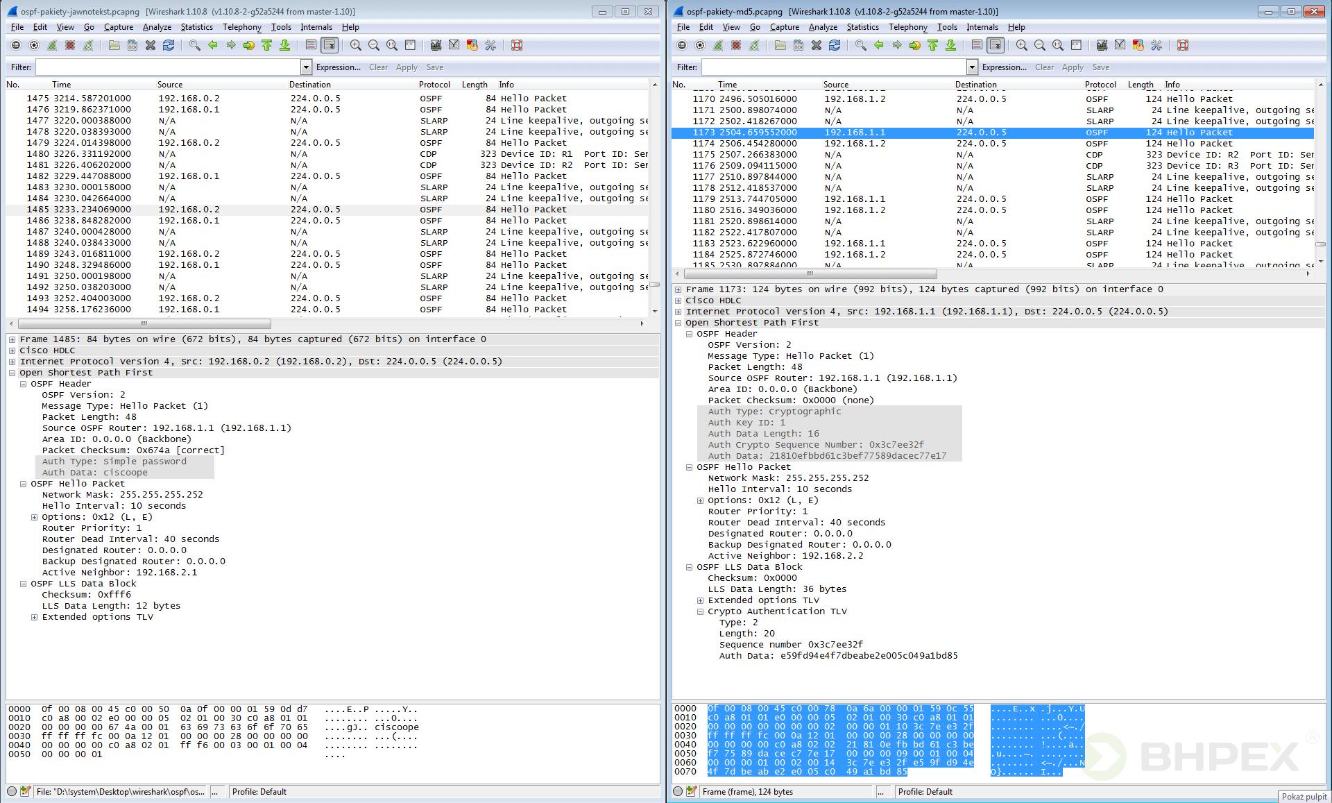 analiza wielu pakietów hello