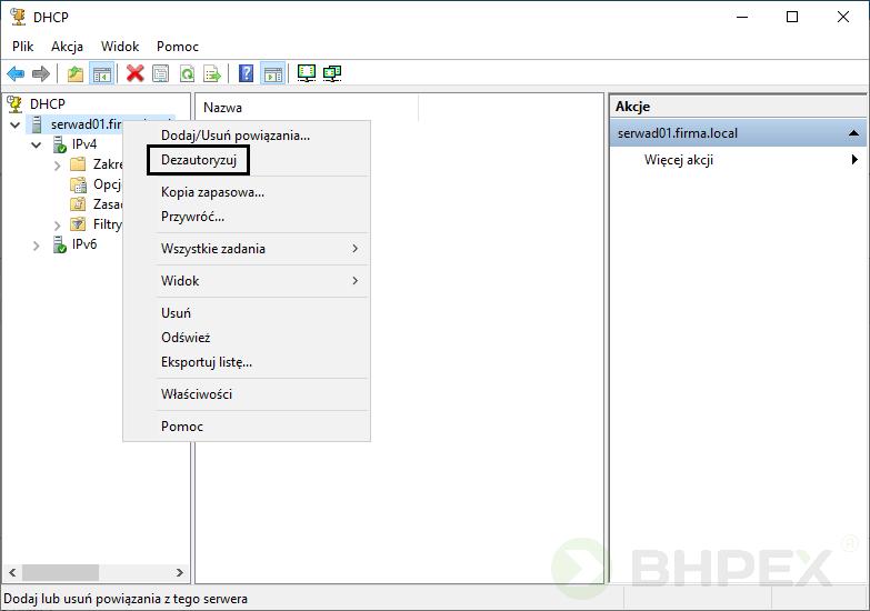 Autoryzacja dezautoryzacja serwera