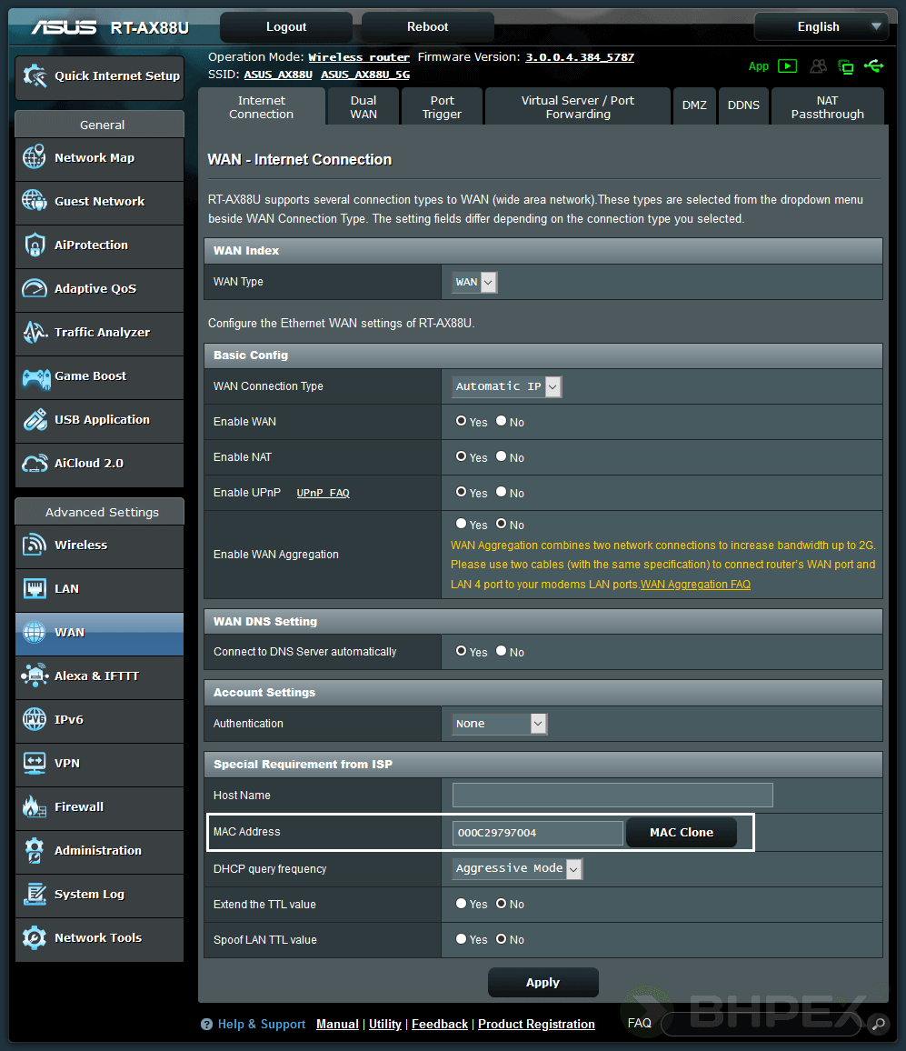 funkcja klonowania adresu MAC asus