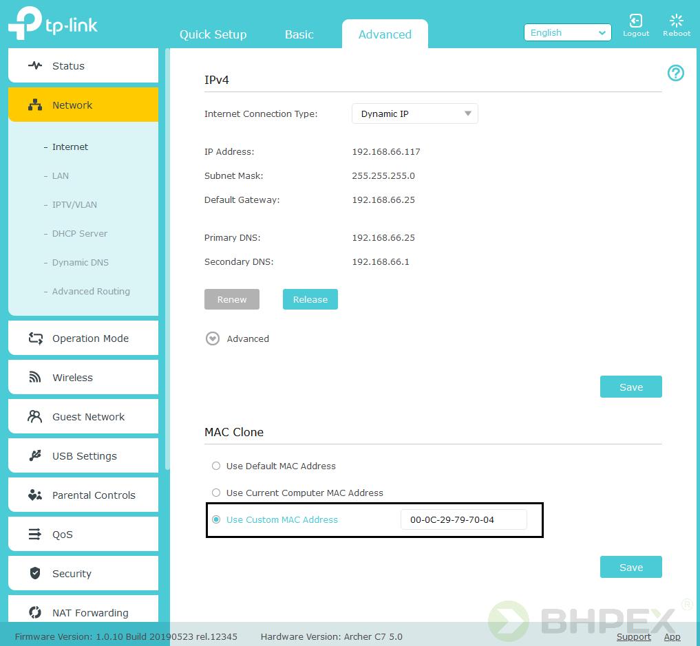funkcja klonowania adresu MAC tp-link