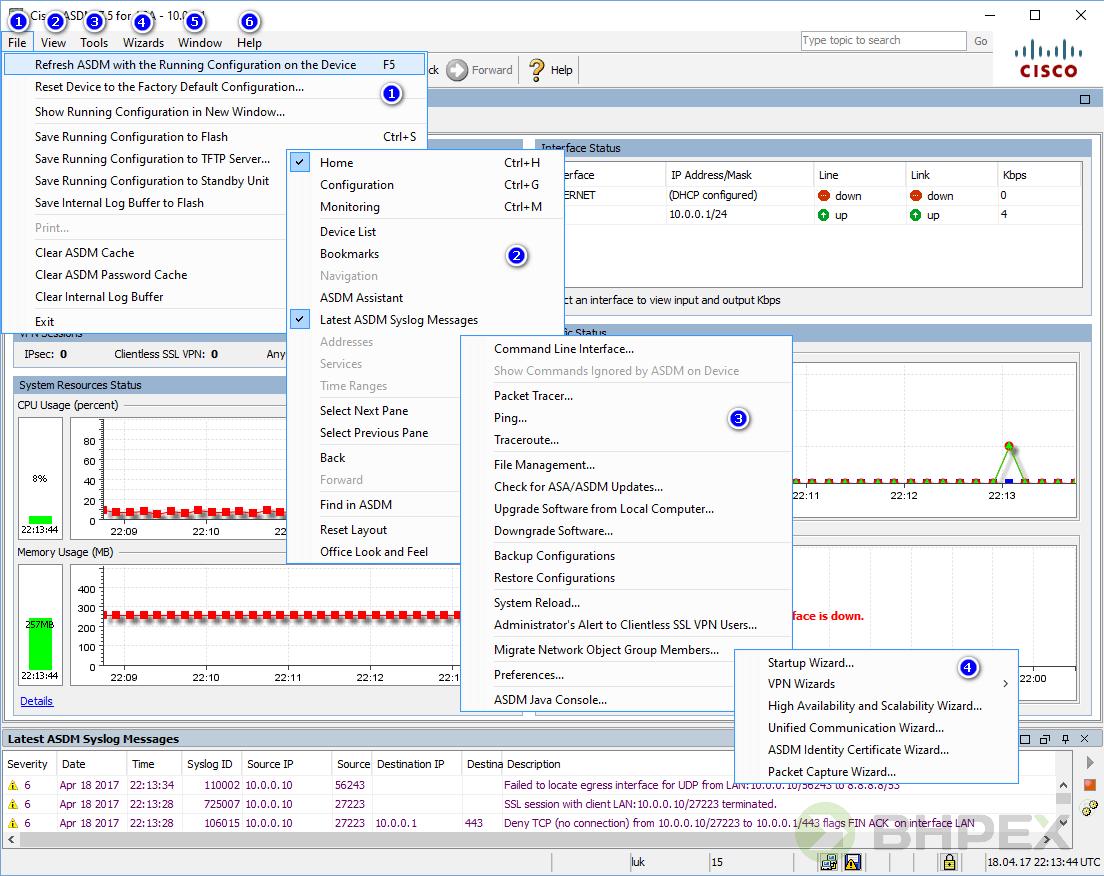 funkcje oprogramowania ASDM - menu górne