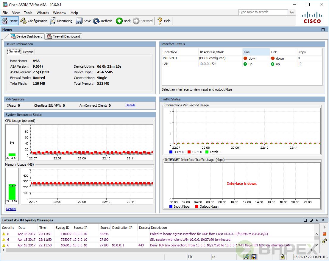 główne okno aplikacji - CISCO ASDM