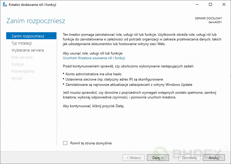 instalacja roli Active Directory