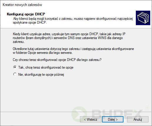 Konfiguracja iopcje DHCP