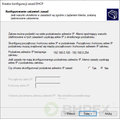 konfiguracja podzakresów adresów IP