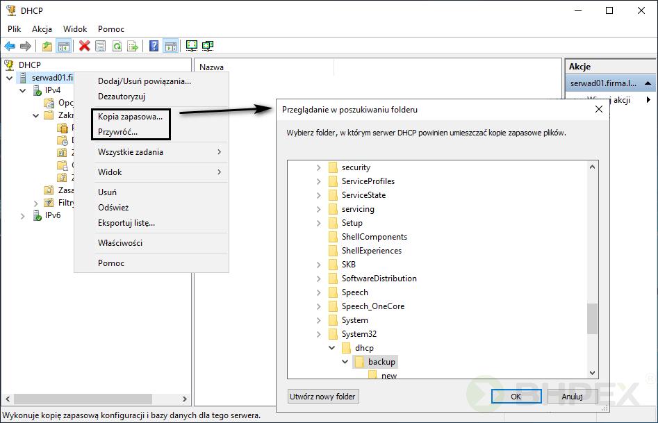 konsola DHCP kopia zapasowa