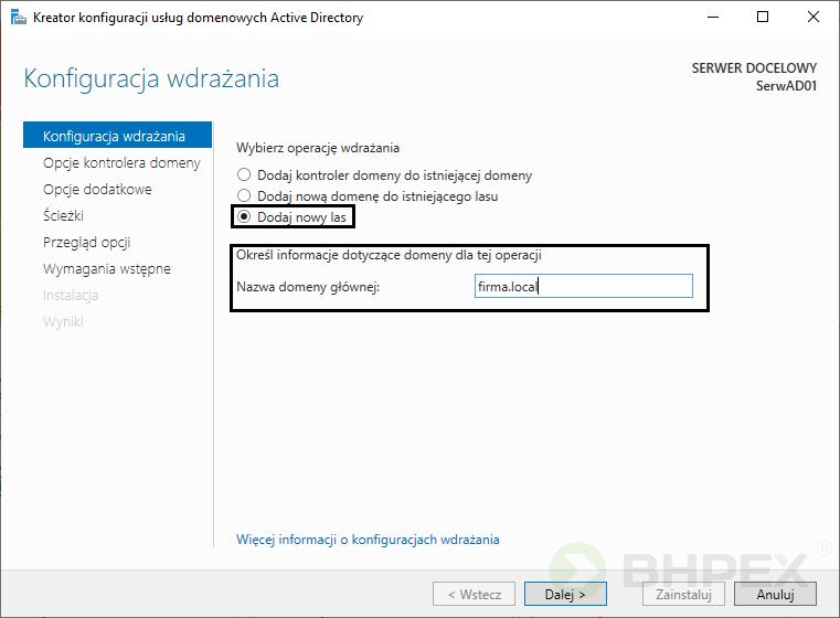 kontroler domeny- konfiguracja wdrażania