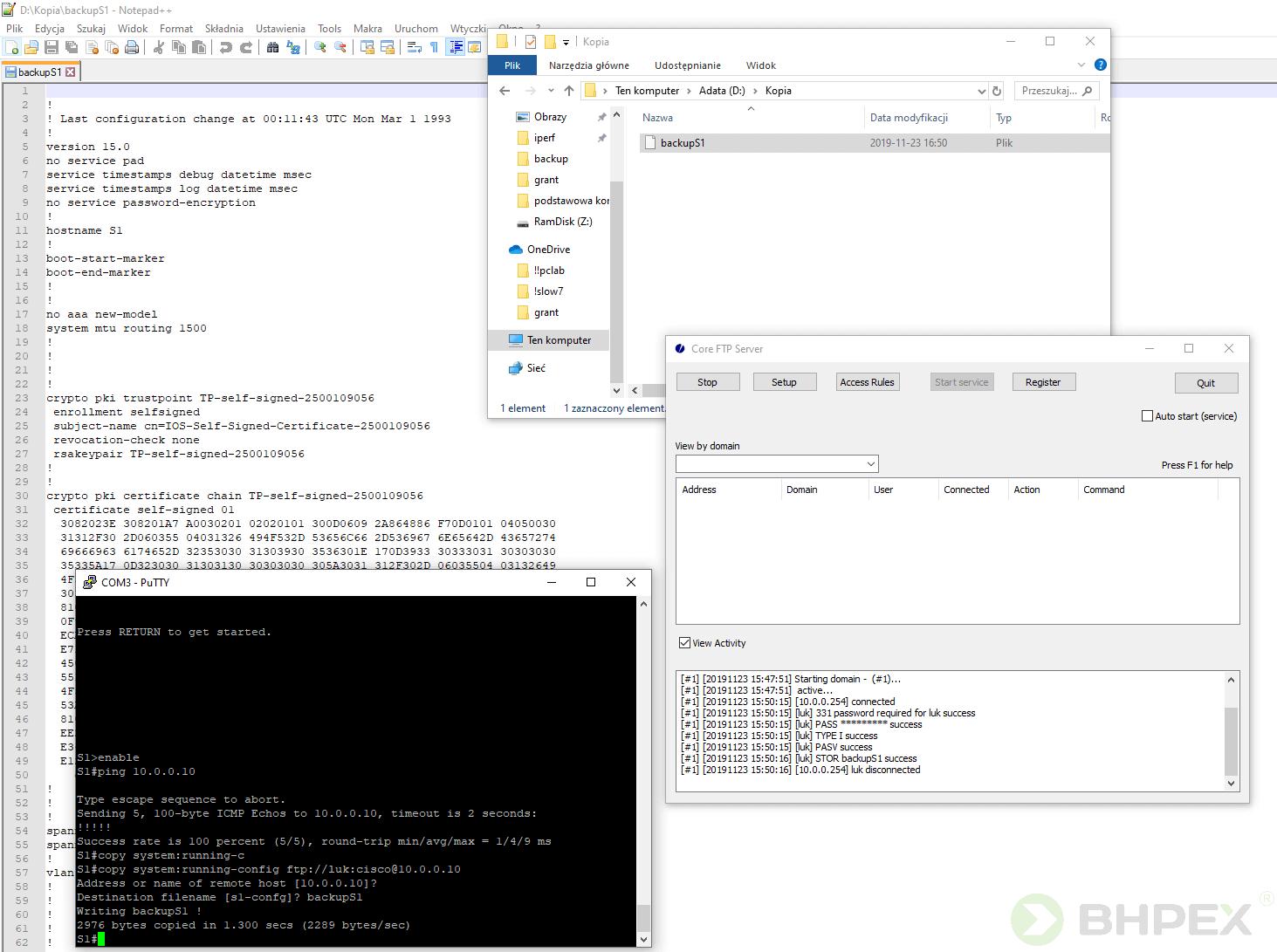kopia izapis ustawień dopliku backupS1