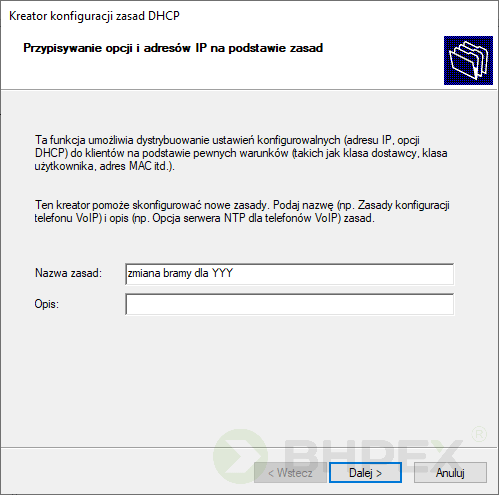 kreator konfiguracji zasad DHCP