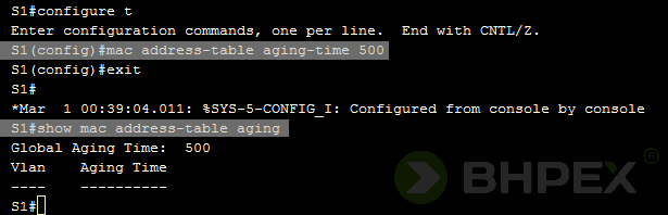 mac address-table aging-time