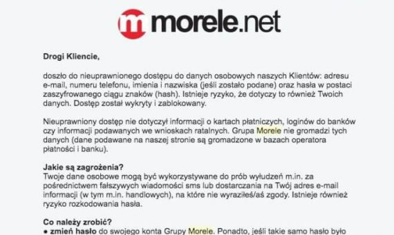 Wyciek danych 2.5 miliona klientów Morele.net