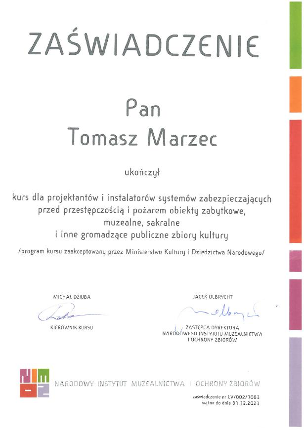 NIMOZ - uprawnienia Tomasz Marzec