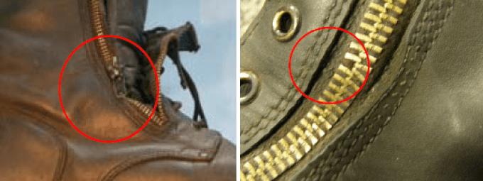 Przegląd obuwia roboczego - uszkodzenia zamka błyskawicznego