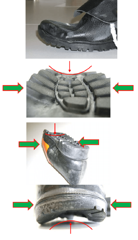 uszkodzenia nosków - przegląd butów roboczych