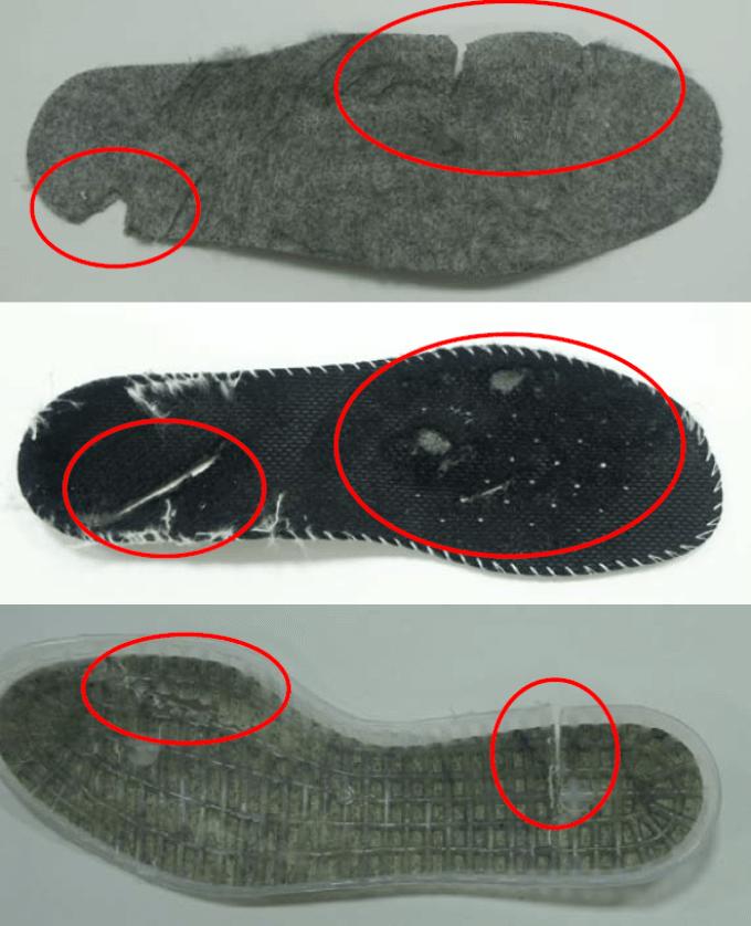 przegląd obuwia ochronnego - uszkodzone wkładki
