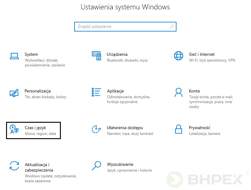 panel ustawień systemu windows