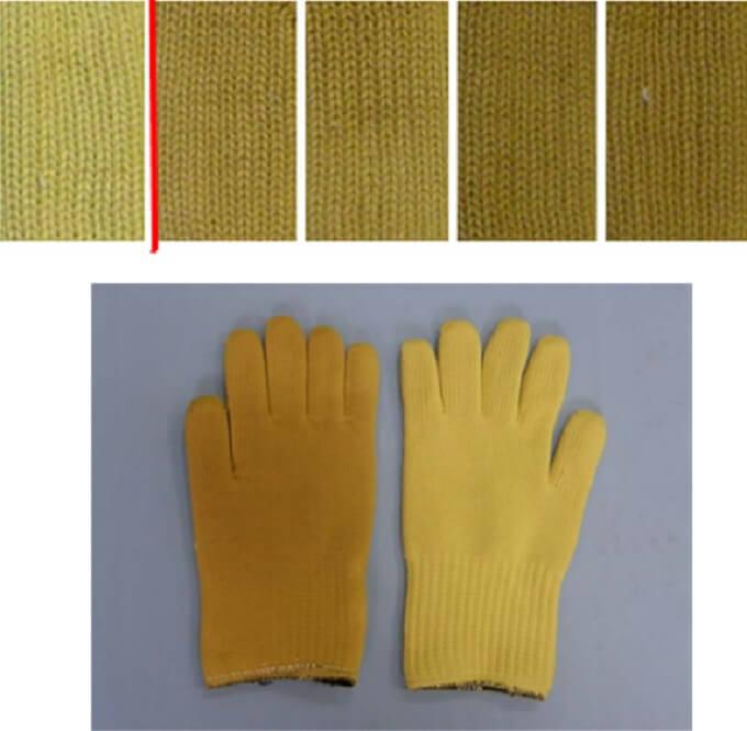 Przebarwienia rękawic wykonanych zwłókien aramidowych