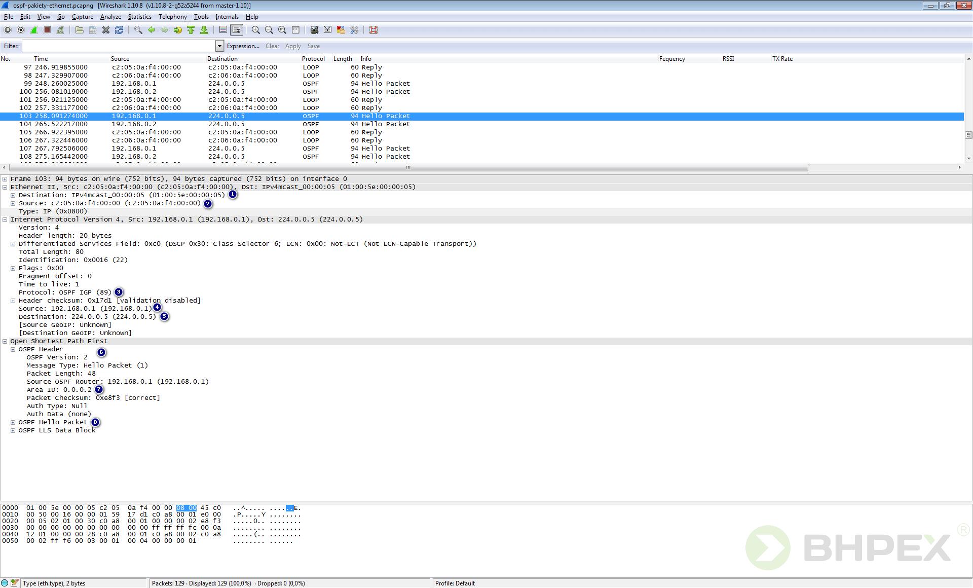 przechwycony pakiet OSPF