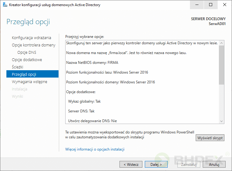 Przegląd opcji Active Directory