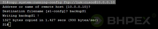 przykład skopiowania konfiguracji bieżącej przełącznika S1