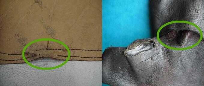 Przykład uszkodzenia szwów rękawic strażackich skórzanych
