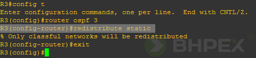 redistribute static