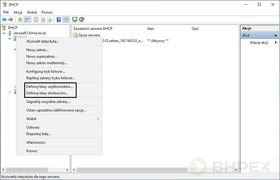 rozwinięcie węzła serwera DHCP