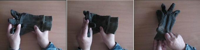Schemat postępowania przyocenie usztywnienia rękawic skórzanych
