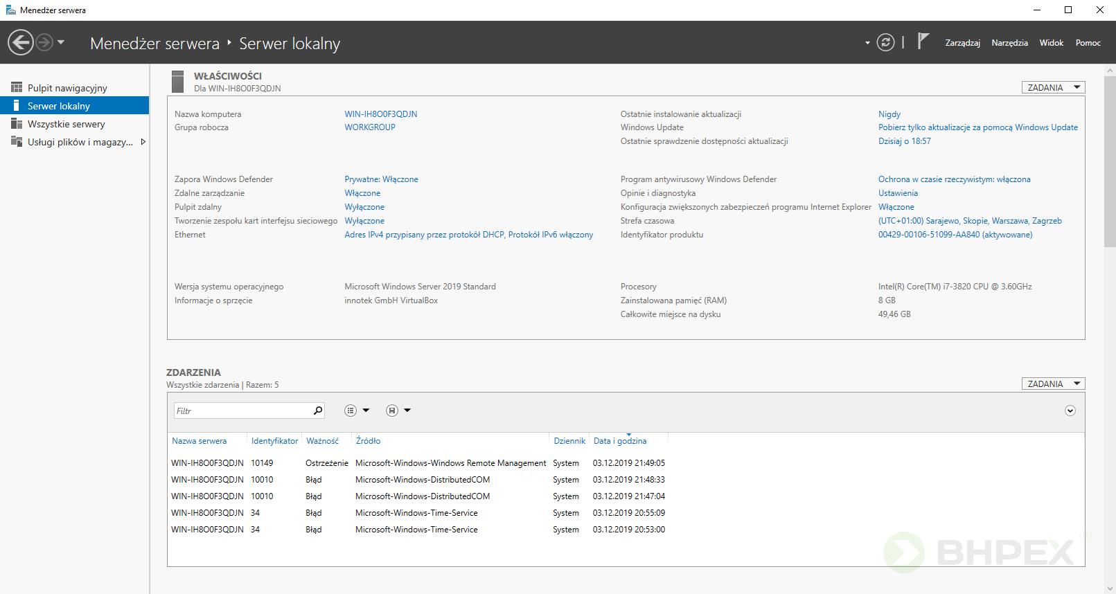 Serwer lokalny -menedżer serwera