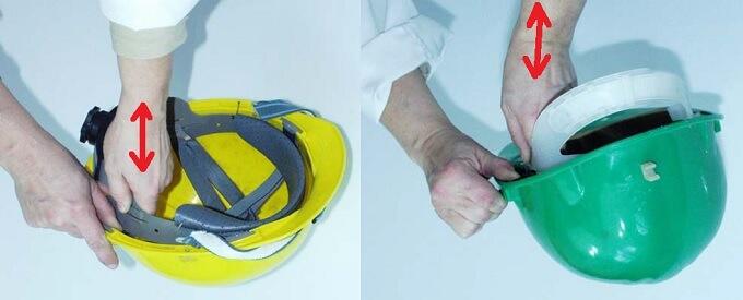 Sprawdzanie połączenia pasa głównego ze skorupą hełmu