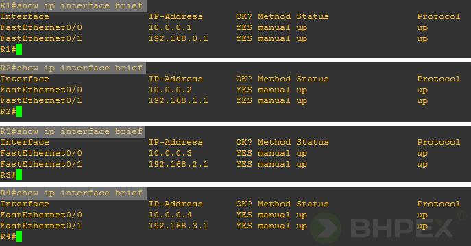 sprawdzenie adresów IP przypisanych dointerfejsów