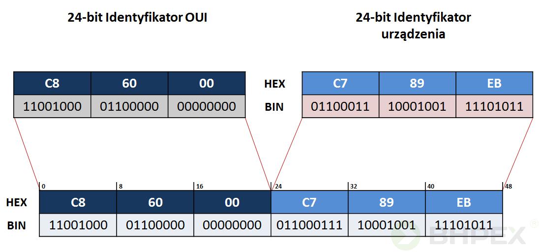 struktura adresu MAC naprzykładzie karty sieciowej firmy ASUS