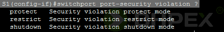 switchport port-security violation