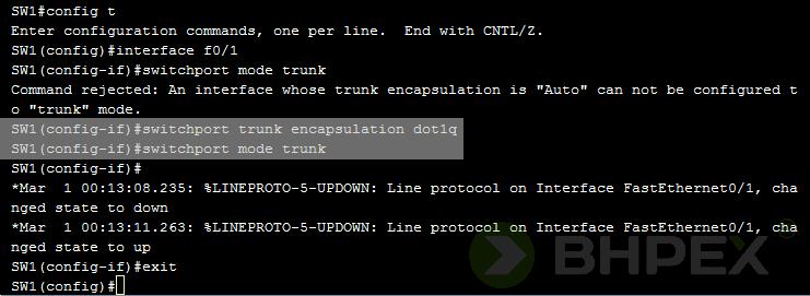 switchport trunk encapsulation dot1q