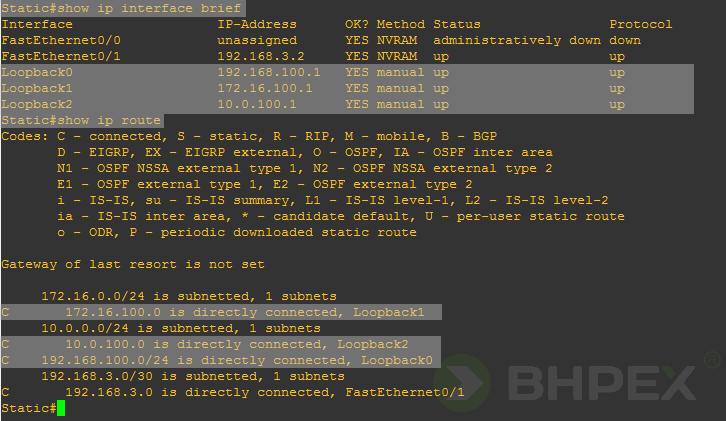 tablica routingu routera Static