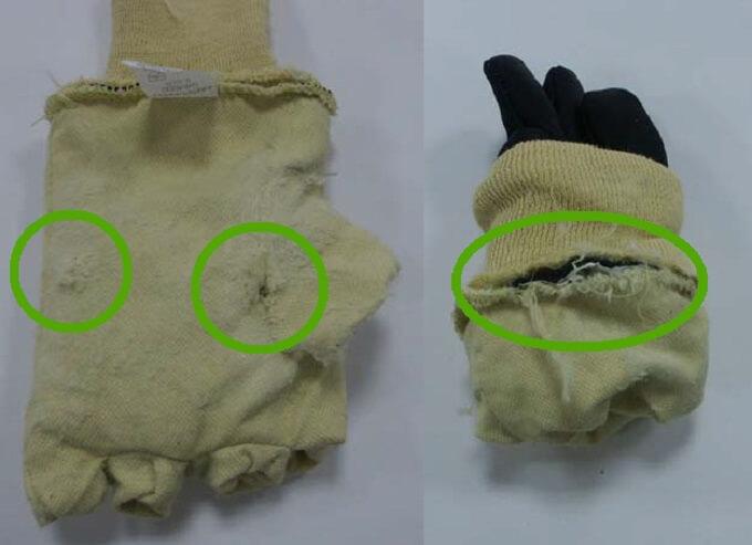 Uszkodzenia wyściółek - przegląd rękawic ochronnych