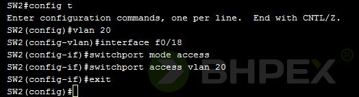 utworzenie sieci VLAN iprzypisanie interfejsów przełączników SW2