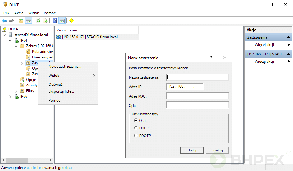 węzeł zastrzeżenia serwera DHCP