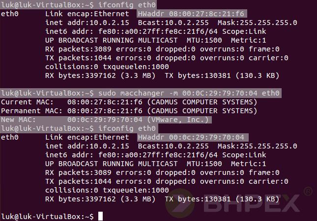 zmiana adresu MAC interfejsu eth0
